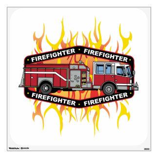 Firefighter Fire Truck Wall Sticker