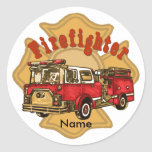 Firefighter Firetruck Round Sticker