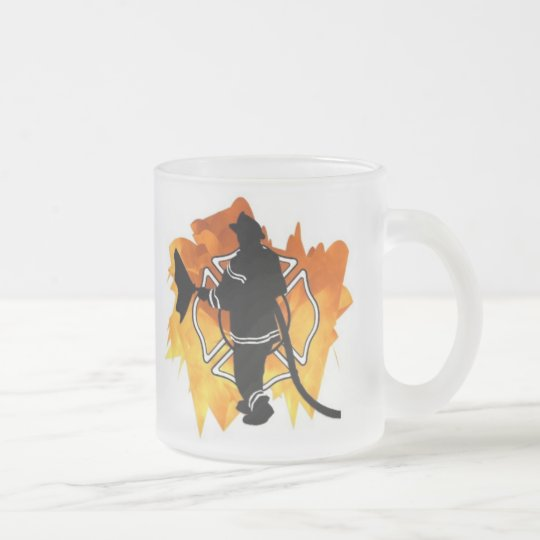 Firefighter Flames Frosted Glass Coffee Mug