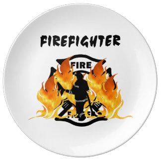 Firefighter Flames Porcelain Plate