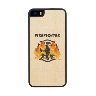 Firefighter Flames Carved® Maple iPhone 5 Slim Case