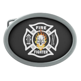 Firefighter Flaming Skull Belt Buckles