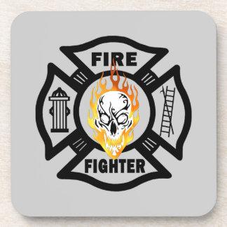 Firefighter Flaming Skull Coaster