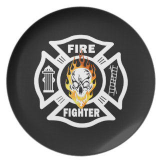 Firefighter Flaming Skull Dinner Plate