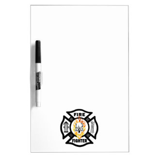 Firefighter Flaming Skull Dry-Erase Board