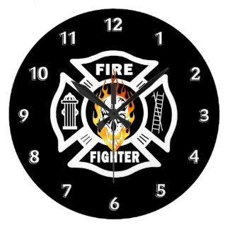 Firefighter Flaming Skull Wallclock