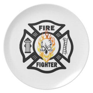 Firefighter Flaming Skull Melamine Plate