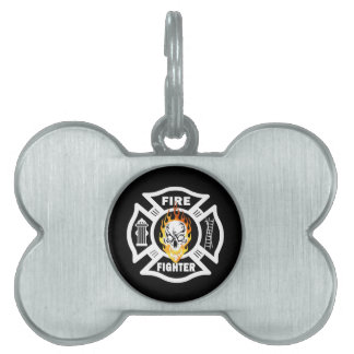 Firefighter Flaming Skull Pet ID Tag