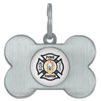 Firefighter Flaming Skull Pet Name Tag