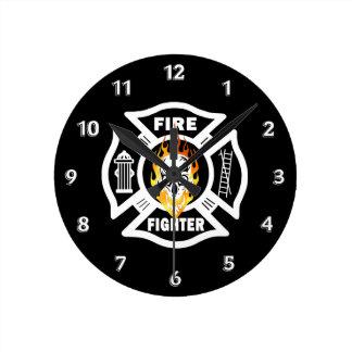 Firefighter Flaming Skull Round Clock
