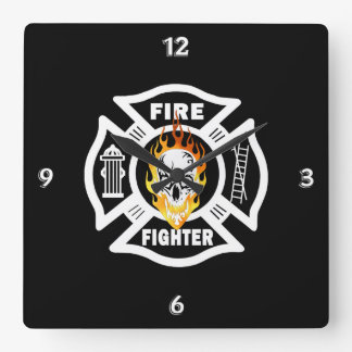 Firefighter Flaming Skull Square Wall Clock