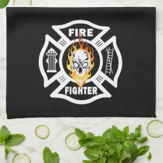 Firefighter Flaming Skull Towel