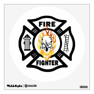 Firefighter Flaming Skull Wall Decal