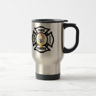 Firefighter Flaming Skulls Travel Mug