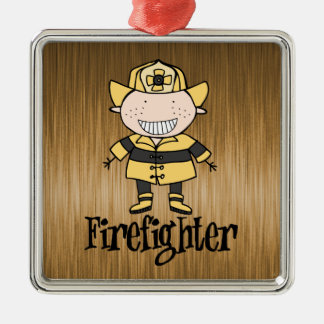 Firefighter Friendly Fireman Profession on Gold Metal Ornament