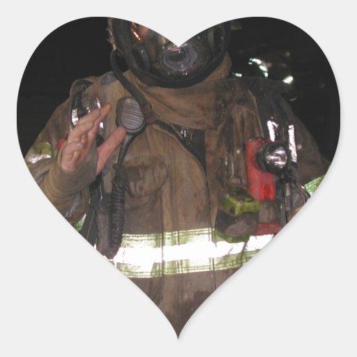 Firefighter gifts heart sticker