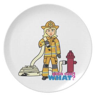 Firefighter Girl - Blonde Dinner Plate
