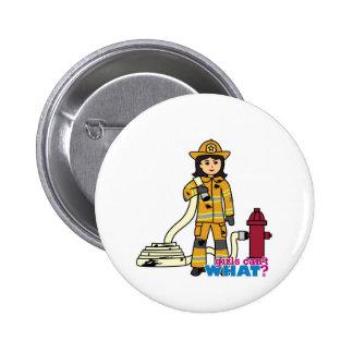 Firefighter Girl - Brunette Buttons
