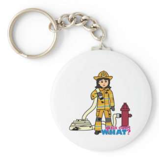 Firefighter Girl - Brunette Key Chain