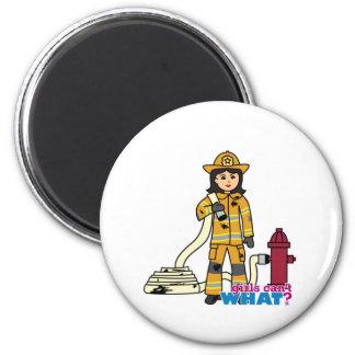 Firefighter Girl - Brunette Refrigerator Magnets