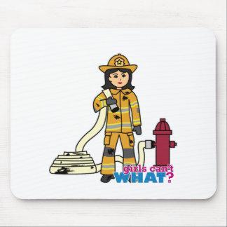 Firefighter Girl - Brunette Mouse Pad