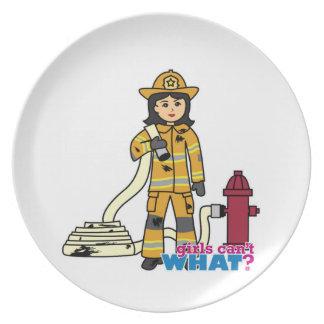 Firefighter Girl - Brunette Party Plate