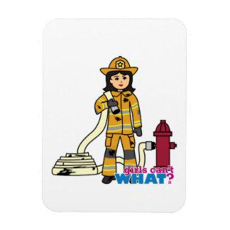 Firefighter Girl - Brunette Rectangle Magnet