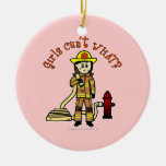 Firefighter Girl Ceramic Ornament