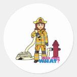 Firefighter Girl Classic Round Sticker