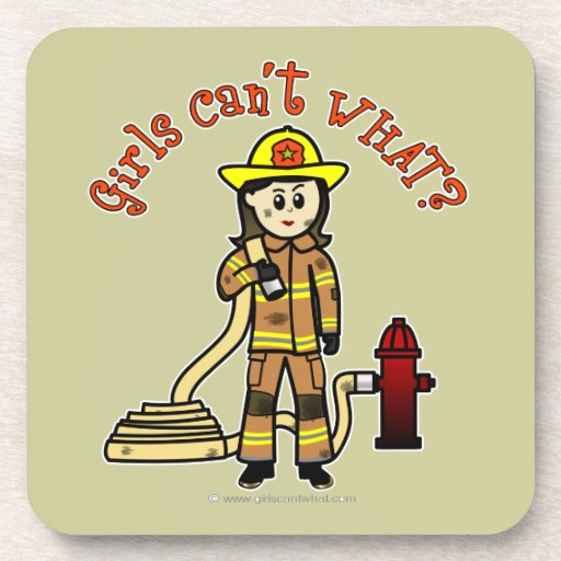 Firefighter Girl Drink Coasters