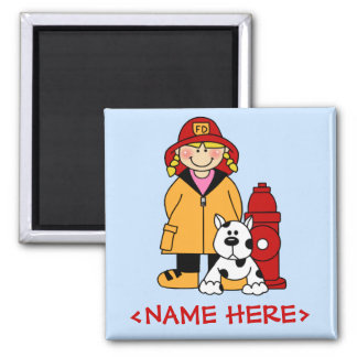 Firefighter (Girl) 2 Inch Square Magnet