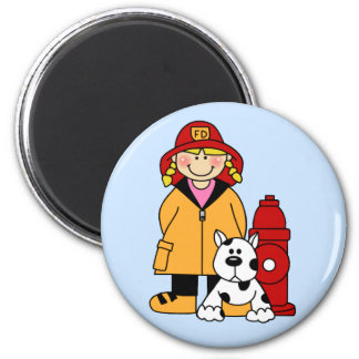 Firefighter (Girl) 2 Inch Round Magnet