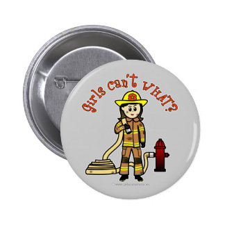 Firefighter Girl Pinback Button