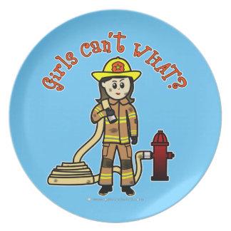 Firefighter Girl Dinner Plate