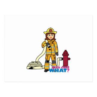 Firefighter Girl Postcard