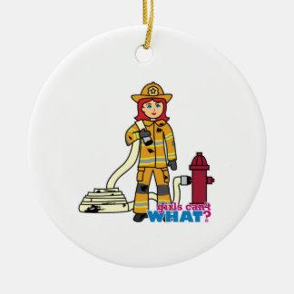 Firefighter Girl - Red Ceramic Ornament