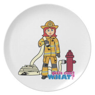 Firefighter Girl - Red Party Plates