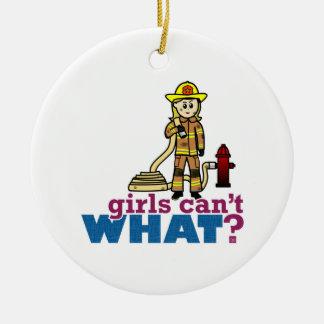 Firefighter Girls Ceramic Ornament