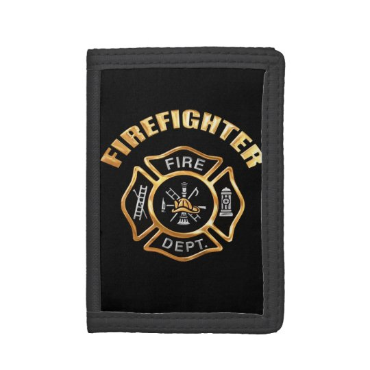 Firefighter Gold Badge Trifold Wallet