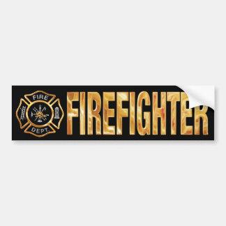 Firefighter Gold Car Bumper Sticker