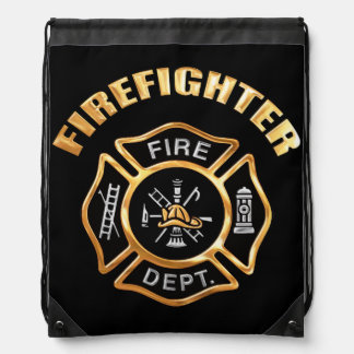Firefighter Gold Drawstring Backpack