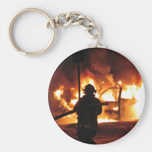 Firefighter Handline Basic Round Button Keychain