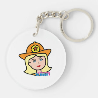 Firefighter Head Blonde Keychain