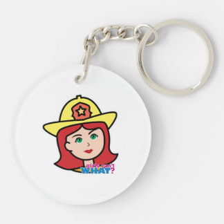 Firefighter Head Red Keychain