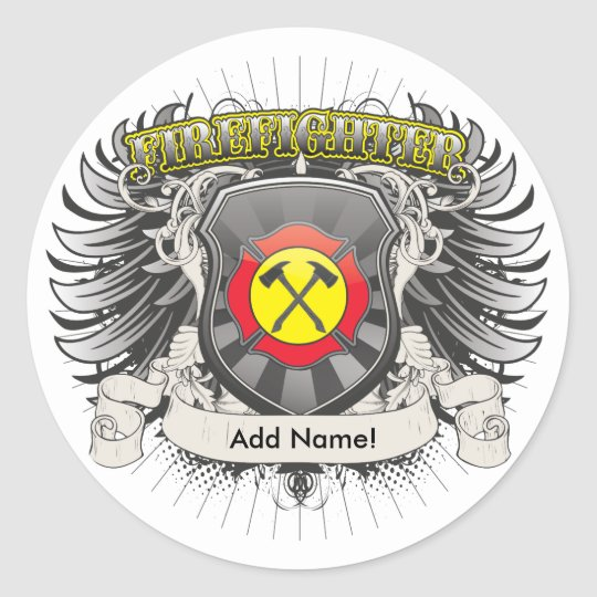 Firefighter Heraldry Classic Round Sticker