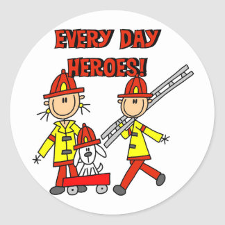 Firefighter Heroes Tshirts and Gifts Round Sticker