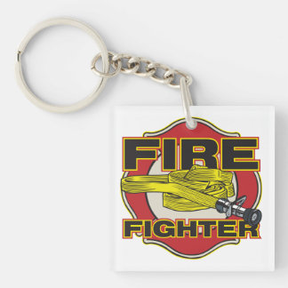 Firefighter Hose and Shield Keychain