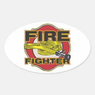 Firefighter Hose and Shield Oval Sticker