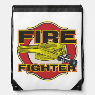 Firefighter Hose and Shield Drawstring Bags