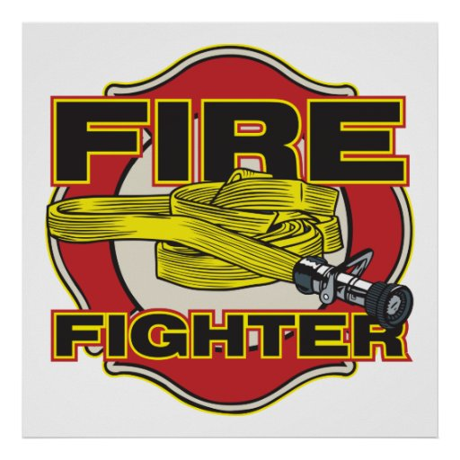 Firefighter Hose and Shield Poster